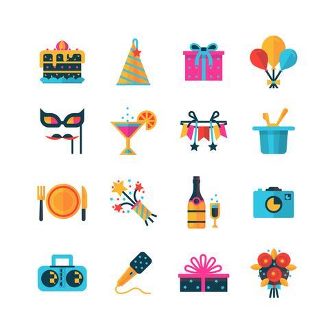 Conjunto de iconos de colores fiesta