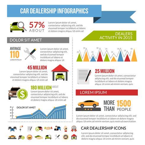 Diseño de infografías de concesionario de coches vector