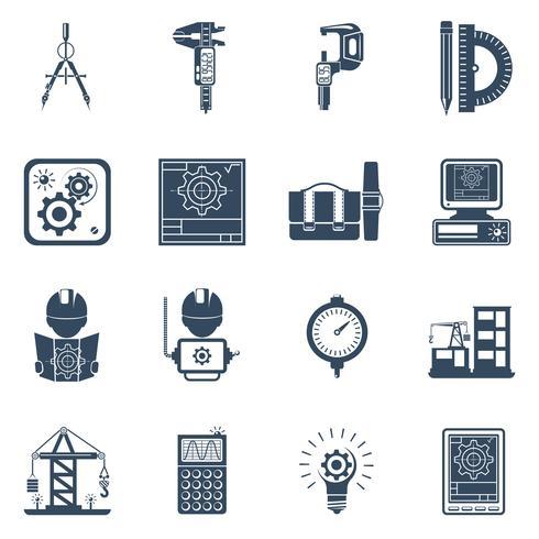 Conjunto de iconos de ingeniero negro vector