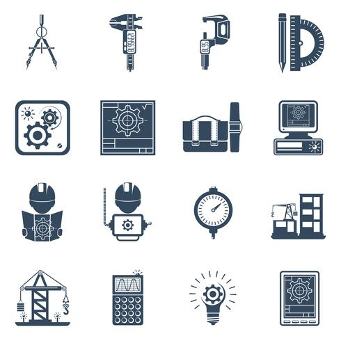 Engineer Black Icons Set