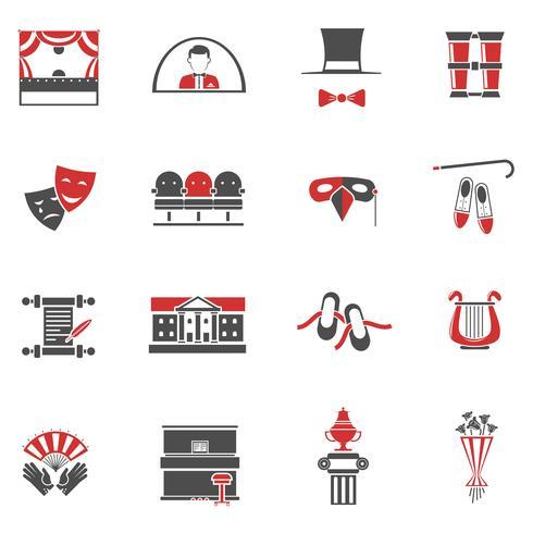 Teatro rojo negro iconos conjunto vector