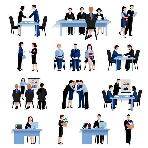 Conjunto de iconos planos de concepto de recursos humanos