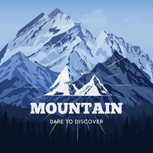 Cartel de montañas en invierno