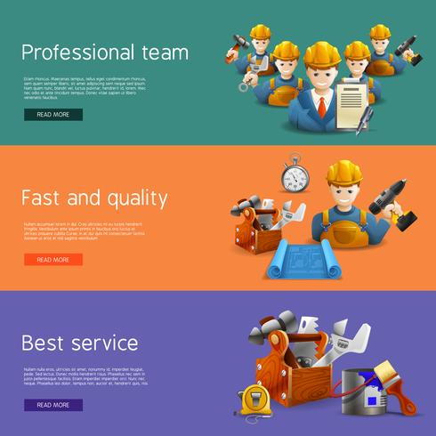 Remodeling construction service flat banners set vector