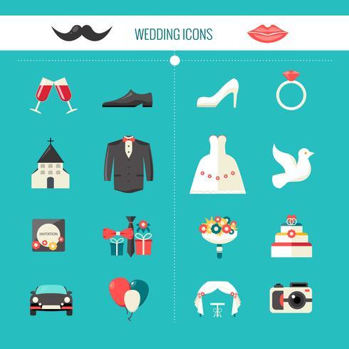 Iconos de boda decorativos de color vector