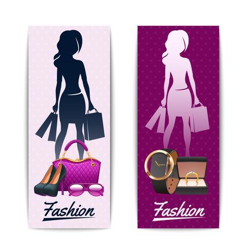 Women shopping vertical banners vector