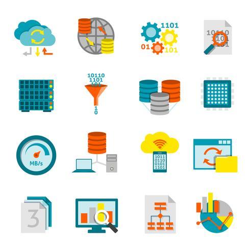Base de données analytique plat Icons Set