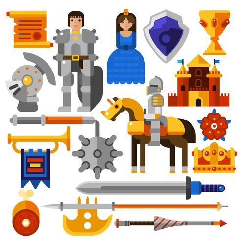 Flat Knight Icons Set