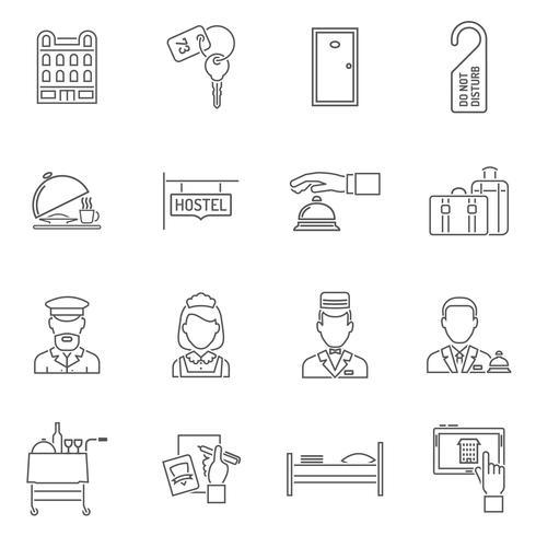 Hotel Icons lijnenset vector