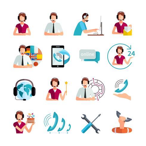 Conjunto de ícones plana de serviço de suporte ao cliente