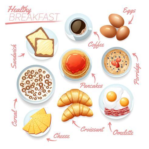 Cartel de desayuno saludable vector