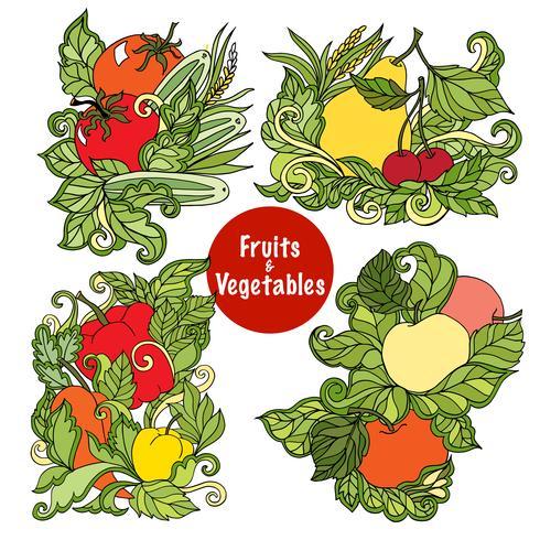 Conjunto de composiciones de frutas y verduras ornamentales.