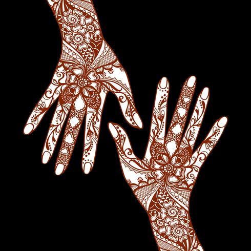 Mehendi Hands On Black Background vector