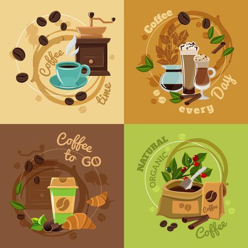 Conceito de café 4 ícones quadrados