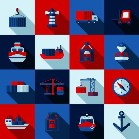 Set di icone di ombre piatte colore Seaport vettore