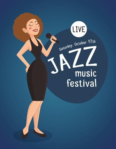 Woman Jazz Singer Illustration