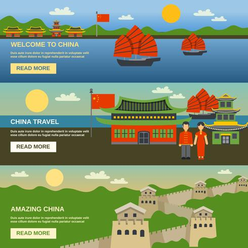Conjunto de banners planos de cultura China 3. vector