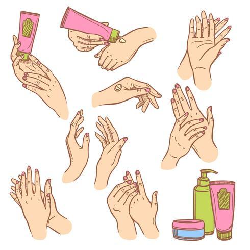 Aplicación de crema de manos plana iconos composición.