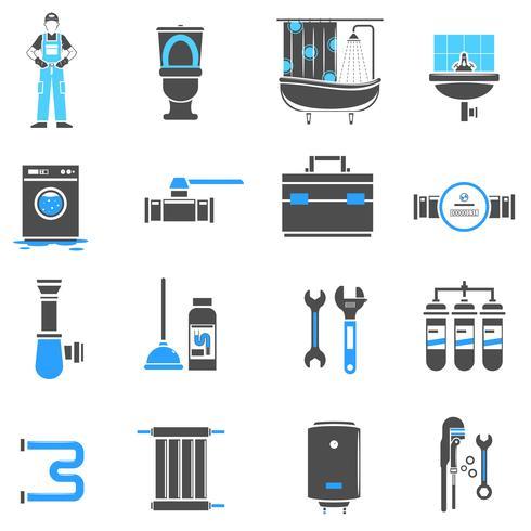 Conjunto de iconos de plomería vector