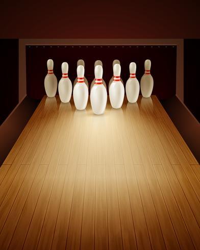 Illustrazione realistica del gioco di bowling vettore