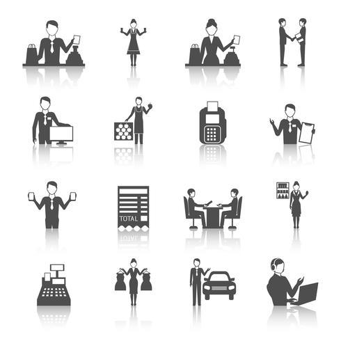 Verkäufer Monochrome Icons Set