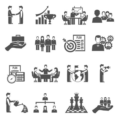 Management Icons Set vector
