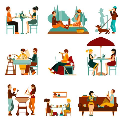 Eating People Icons Set