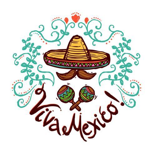 Mexiko skiss illustration