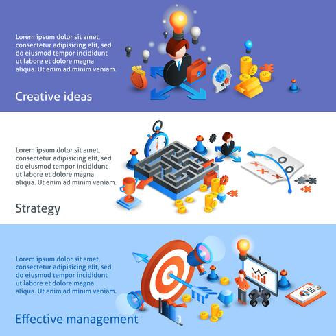 Banner isométrico de estrategia empresarial