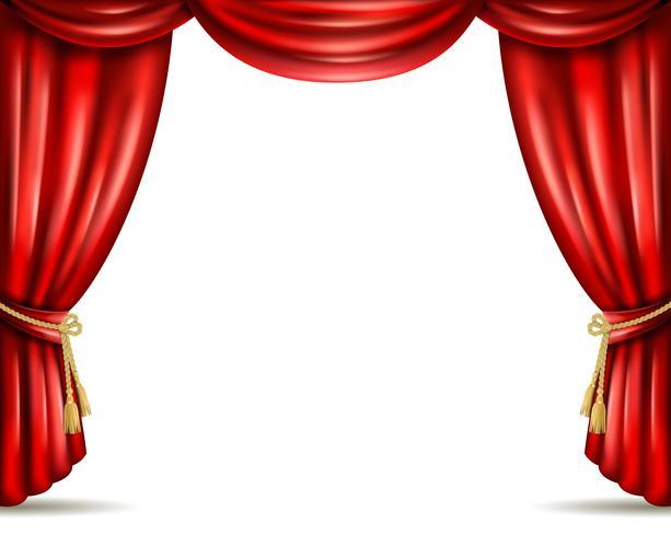 Illustratie van de het gordijn de open vlakke banner van het theater