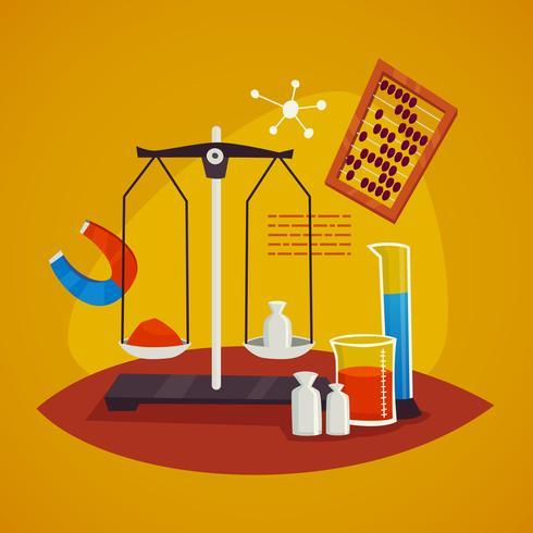 Concepto de diseño de laboratorio de ciencias con escalas