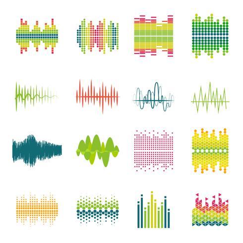 Conjunto de ícones plana de equalizador vetor