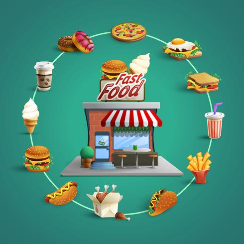 Fastfood Restaurant Pictograms Circle Composition Banner vector