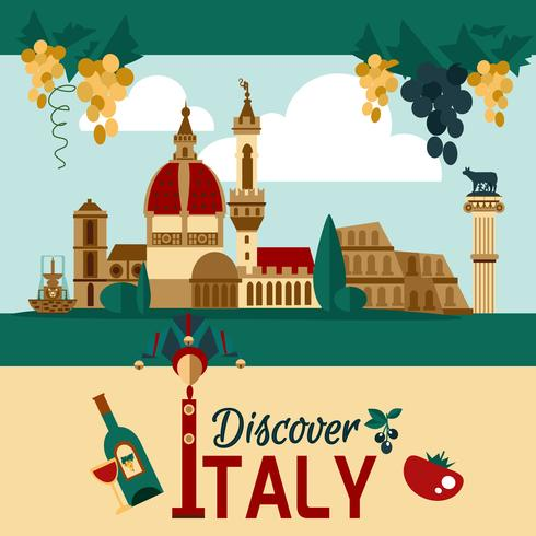 Italië toeristische poster vector