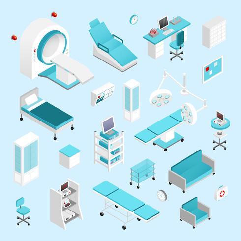 Conjunto isométrico de hospital vetor