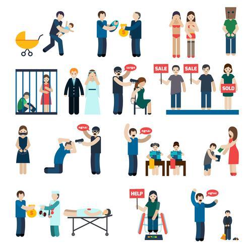 Conjunto de ícones plana de tráfico humano