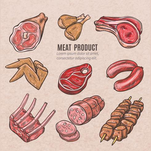 Fleischprodukte Farbskizzen