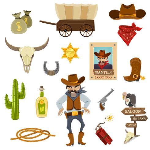 Cowboy Icons Set vecteur