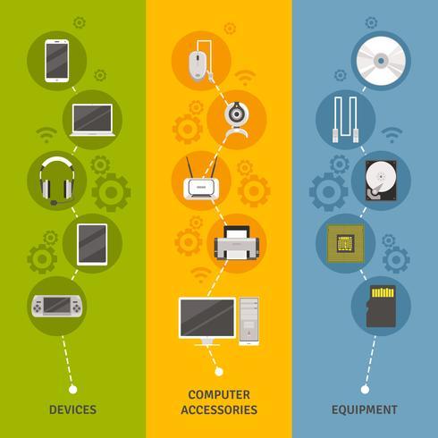 Conjunto de banners de dispositivos y equipos informáticos vector