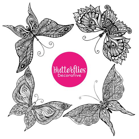 Conjunto de mariposas decorativas vector