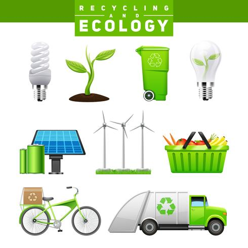 Recycling And Ecology Images Set vector