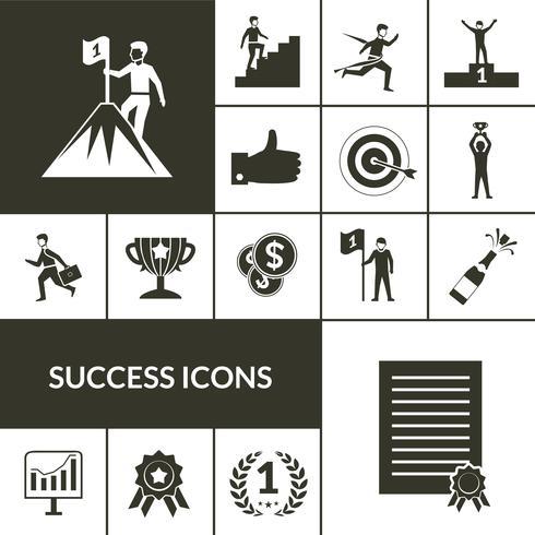 Conjunto de iconos de éxito negro