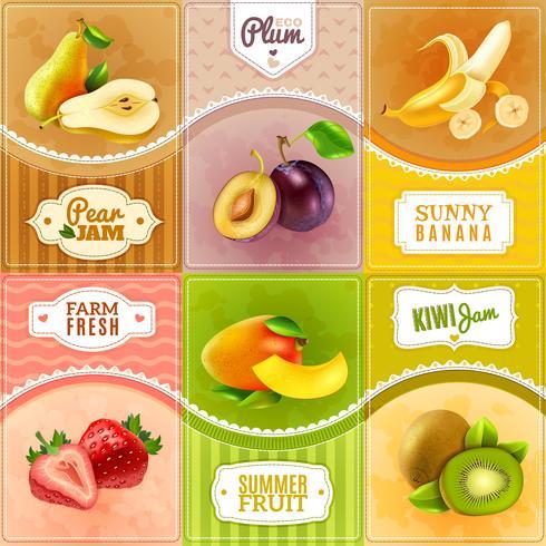 Cartel plano de la composición de los iconos de las bayas de las frutas