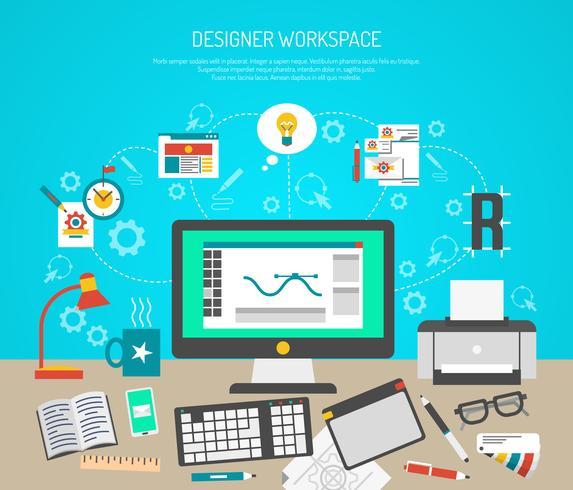 Ontwerper werkruimte Concept