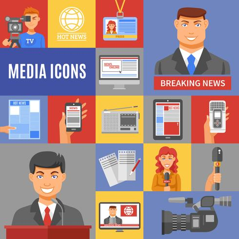 Ställ in journalistik ikoner vektor
