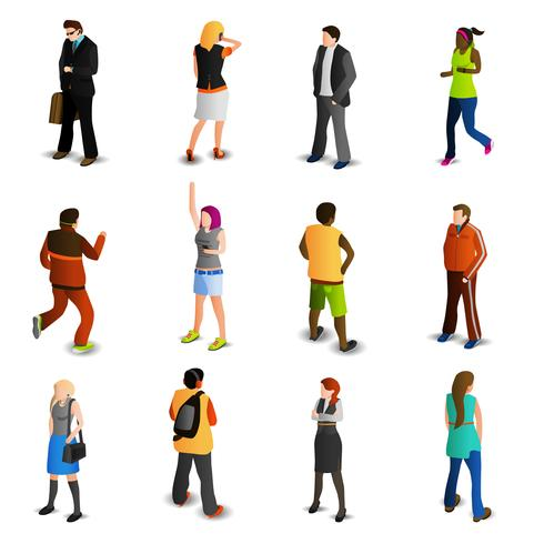 Conjunto de iconos isométricos de personas