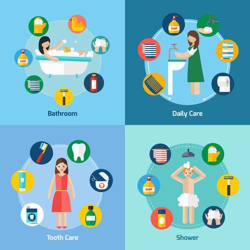 Higiene 4 iconos planos de composición cuadrada.