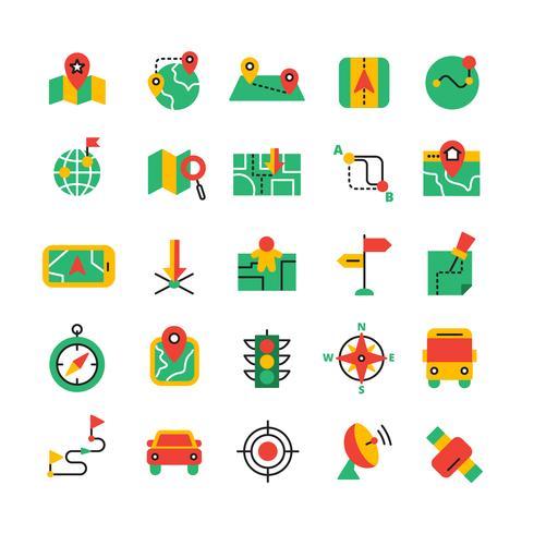 Conjunto de iconos de navegación de color