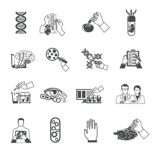 Biotechnologie Zwarte pictogrammen instellen vector