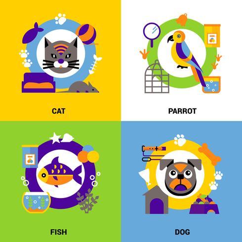 Conjunto de concepto de diseño veterinario vector